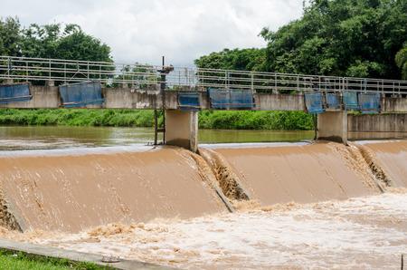 drainage at dam when floods in the rainy season photo
