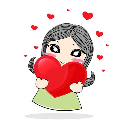 Cute cartoon girl holding a red heart photo