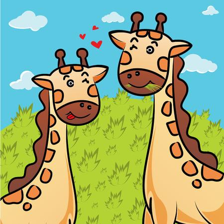 cartoon of giraffe eating grass photo