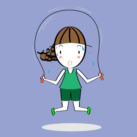 skipping rope: Cartoon girl skipping rope Illustration