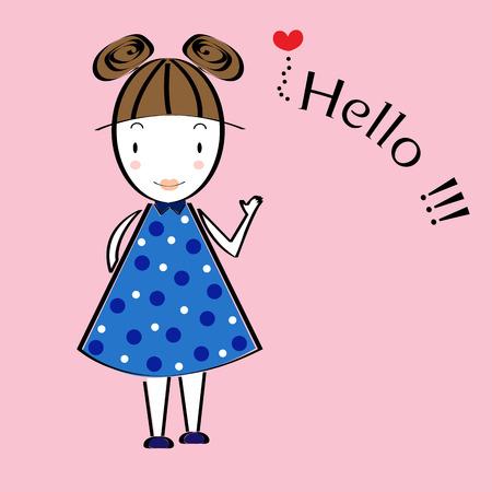 cute girl cartoon: cute girl cartoon vector Illustration