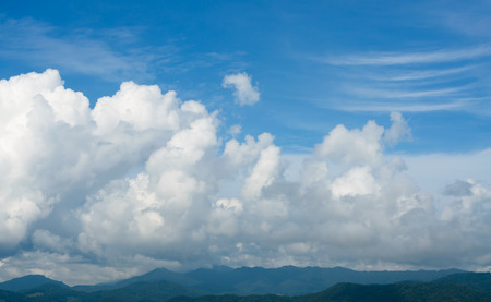 Natural landscape of mountains and blue sky on a clear day photo