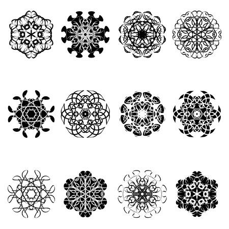 set of flower shape icon design