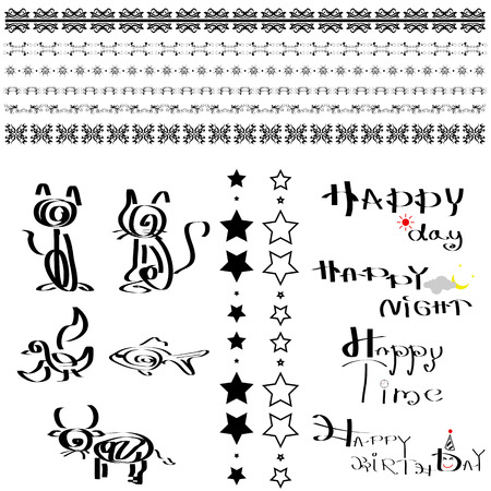line decorative and calligraphy design set Vector