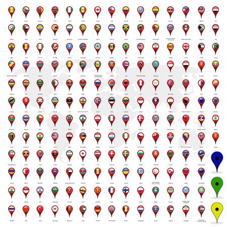 Cirkel vlaggen vector op kaart pin van de wereld en de wereld kaart op een witte achtergrond Stock Illustratie