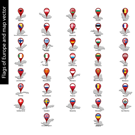 Flags of Europe on pin map and map vector set isolated