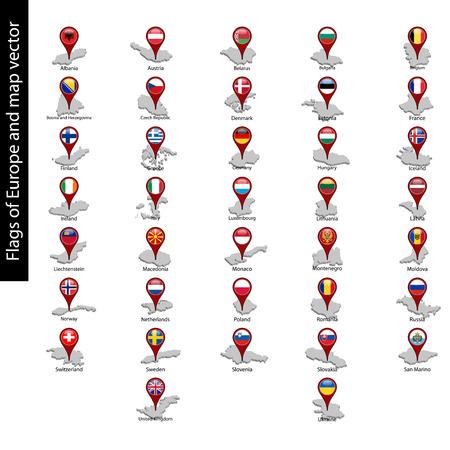 Vlaggen van Europa op pin kaart en kaart vector set geïsoleerd