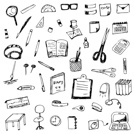 hand drawing of stationery vector set