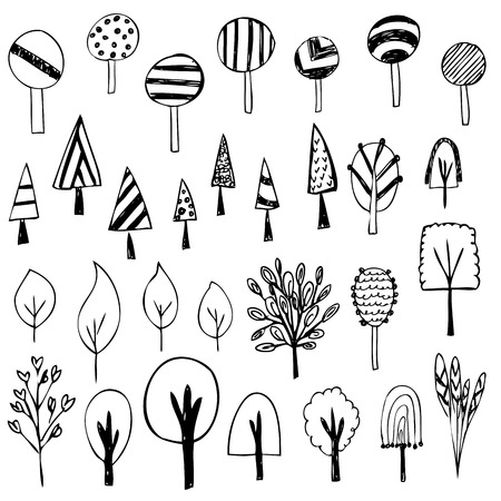cute of tree sketch on white background Vector