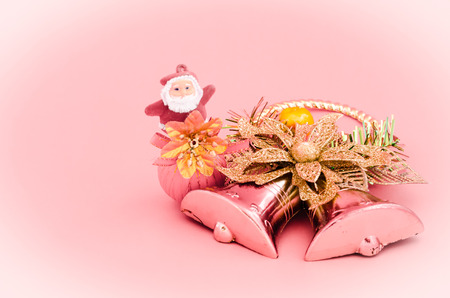 decoration of christmas on sweet pink color tone  photo