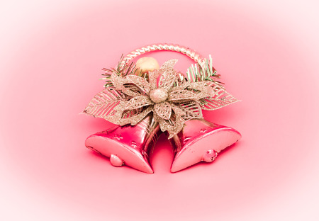 scarf beach: decoration of christmas on sweet pink color tone  Stock Photo