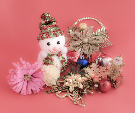 decoration of christmas on sweet pink color tone background photo