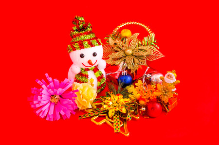 decoration of christmas on red background photo