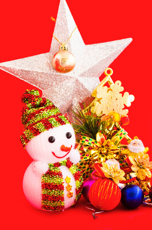 decoration of christmas on red  photo