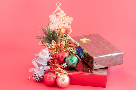 scarf beach: decoration of christmas and gift box on sweet pink color tone