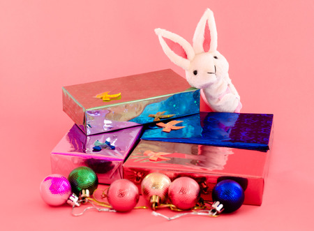gift box and cute bunny on sweet pink color tone for decoration of christmas day photo