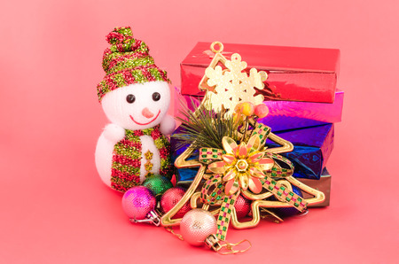 decoration of christmas and gift box on sweet pink color tone  photo