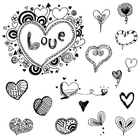 heart doodle vector set Vector