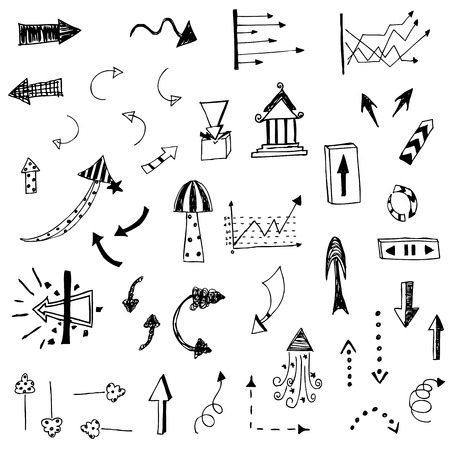 arrow sketch of hand drawing vector set Vector