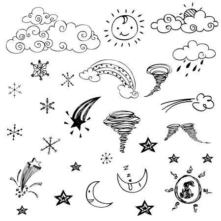 free drawing of weather symbols on white background Vector