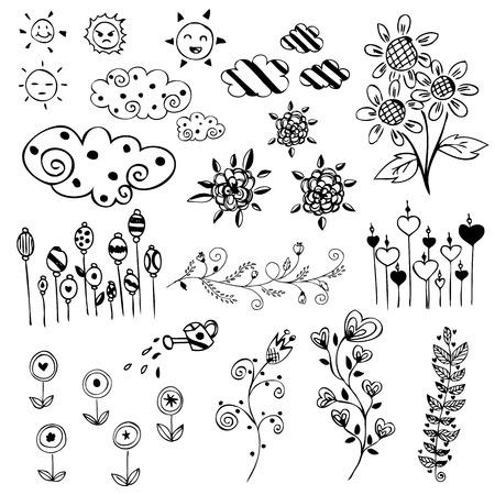 set of flower sketch vector Vector