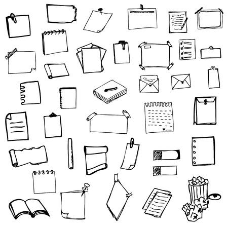 set of drawing paper sketch vector illustration Illustration