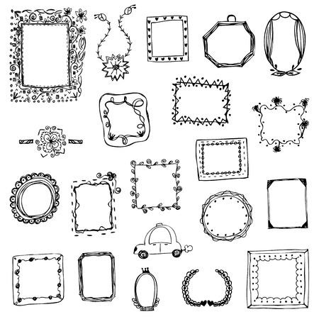 vrije hand tekening van fotolijst vector illustratie op wit geïsoleerd