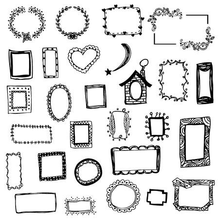 bordes decorativos: dibujo a mano libre de la ilustración del vector del marco de imagen en blanco aislado Vectores