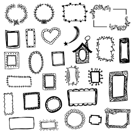 Vrije hand tekening van fotolijst vector illustratie op wit geïsoleerd Stockfoto - 34464089