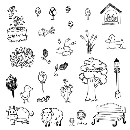 free hand drawing of garden symbol set on white isolated Vector