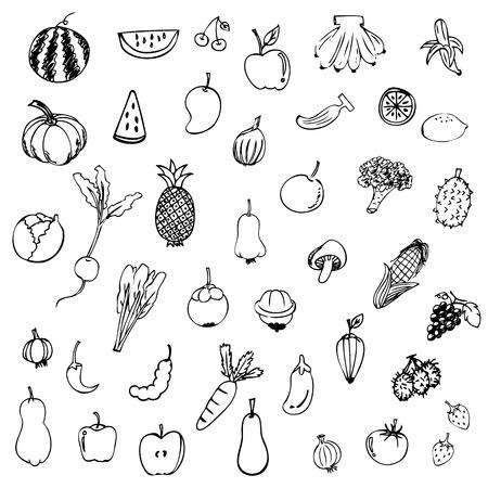 Groenten en fruit schets vector in zwart doodle op witte achtergrond