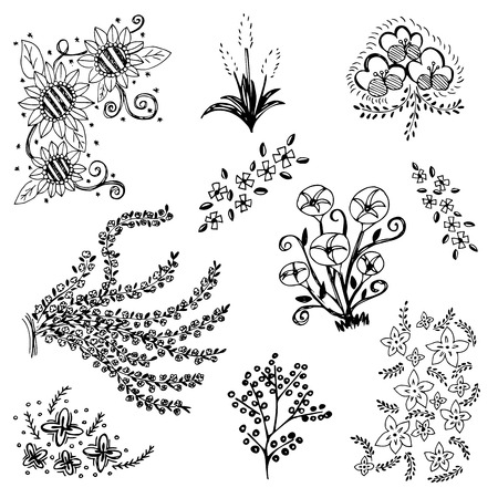 pencil drawn: set of flower sketch vector,free hand drawing doodle sketch on white background Illustration