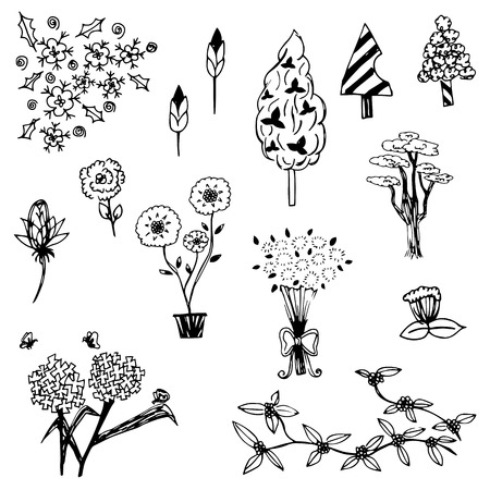 Tree and flower sketch outline vector set on white background Vector
