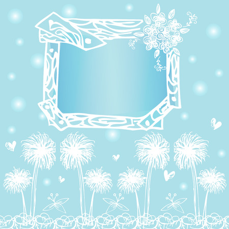 free hand: frame card designs on free hand drawing vector on light blue background Illustration