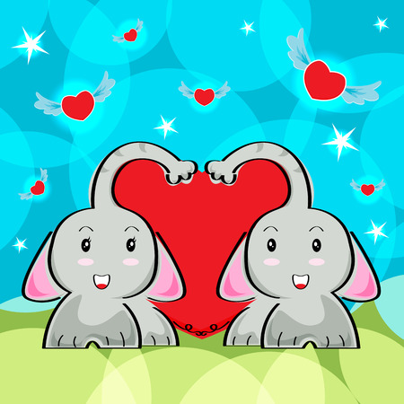 elephant cartoon in love and red heart vector background for valentine day