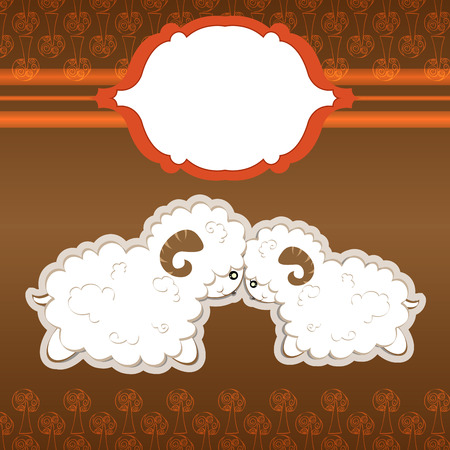 two cute sheep cartoon in love vector and frame for wedding card and more Vector