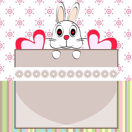 bunny cartoon and frame card vector design Vector