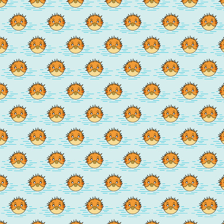 puffer pattern on azure background Vector