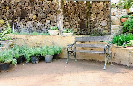 Garden furniture in relaxing garden photo