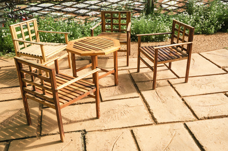 Garden furniture in relaxing garden