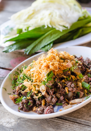 minced: spicy minced pork or spicy minced pork salad Thai dishes