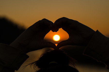 crepuscle: Heart shaped shadow in evening time