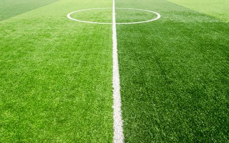 voetbalveld, kunstmatige groene gras Stockfoto