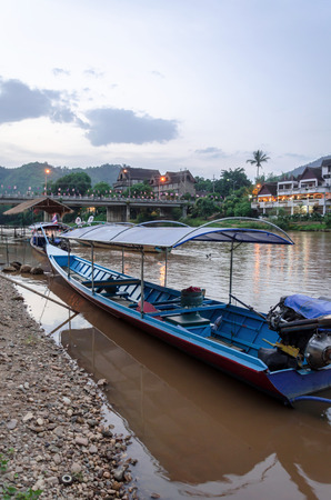 long tailed boat: CHIANG MAI THAILAND  MAY 15: Long tailed boat on Kok river in Thailand at Baan Tha Ton Chiang Mai transportation by boat that will not be popular in current.