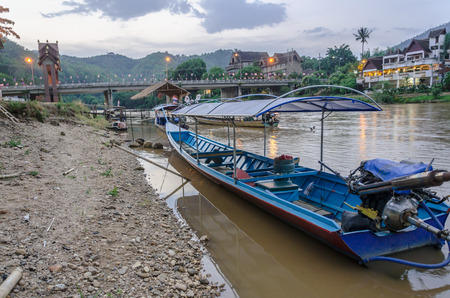 CHIANG MAI THAILAND  MAY 15: Long tailed boat on Kok river in Thailand at Baan Tha Ton Chiang Mai transportation by boat that will not be popular in current.