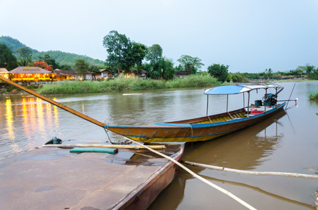 long tailed boat: long tailed boat on Kok river in Thailand