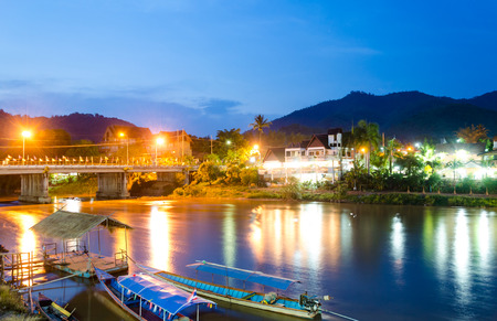 Mea Ai district Thailand  MAY 15 2015: Attractions at the town of Baan Tha Ton in Mae Ai Chiang Mai province tourists came to travel at Kok waterfront for leisure dining and looking night street view of Tha Ton bridge at Kok river.