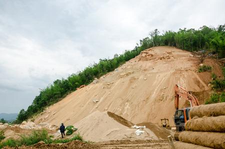 natural disasters: CHIANG RAITHAILAND MAY 25 : Natural disasters landslides during in the rainy season at Mae Suai district on May 25 2015 in Chiang Rai Thailand Editorial