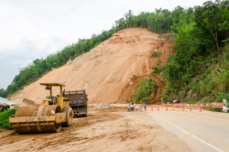 land slide: CHIANG RAITHAILAND MAY 25 : Natural disasters landslides during in the rainy season at Mae Suai district on May 25 2015 in Chiang Rai Thailand Editorial
