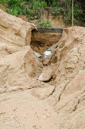 suelo arenoso: Los desastres naturales, los deslizamientos de tierra durante en la temporada de lluvias